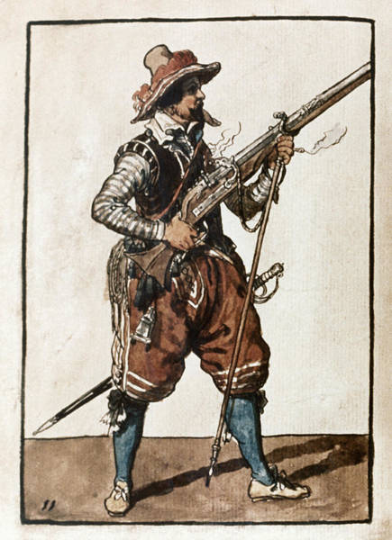 Drawing - Musketeer, 1608 by Granger
