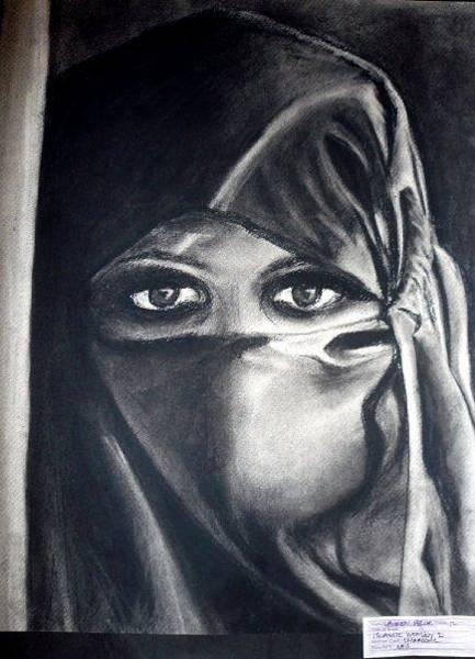 Wall Art - Drawing - Muslim Woman  by Lauren  Pecor