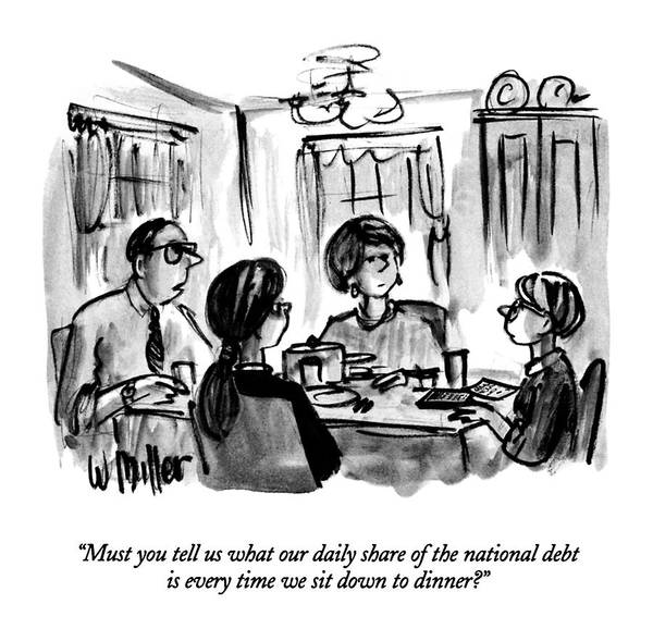 Debts Drawing - Must You Tell Us What Our Daily Share by Warren Miller