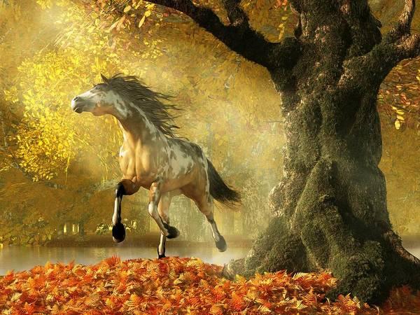 Digital Art - Mustang Autumn by Daniel Eskridge