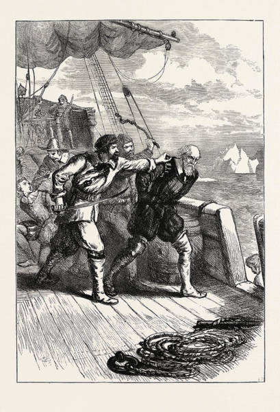 Wall Art - Drawing - Mutiny On Hudsons Ship, Us, Usa by English School