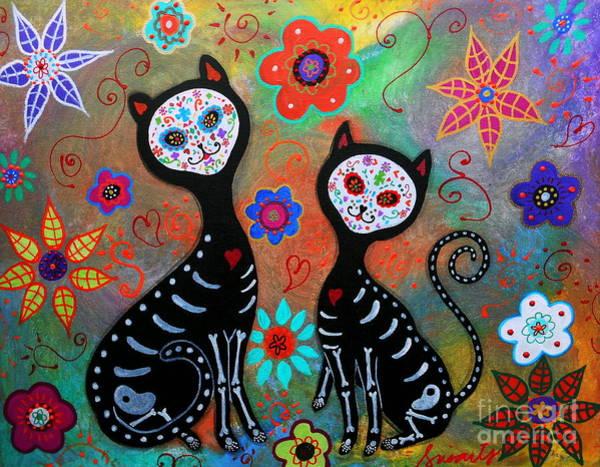 Wall Art - Painting - My 2 Cats Dia De Los Muertos by Pristine Cartera Turkus