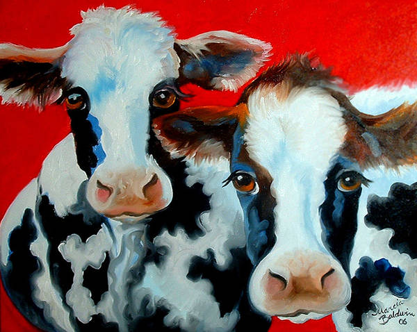 Painting - My 2 Fat Cows by Marcia Baldwin
