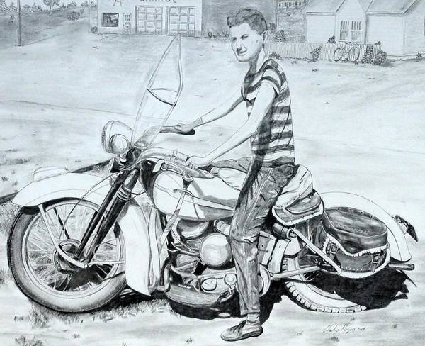 Wall Art - Drawing - My Brother's Harley by Charles Rogers