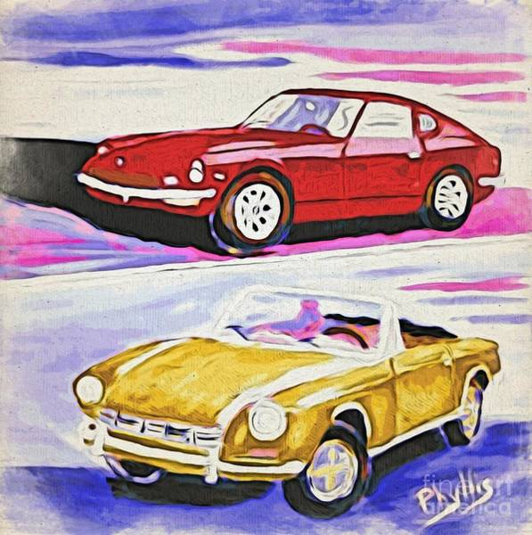 Assistance Painting - My Cars Of The Past by Phyllis Kaltenbach