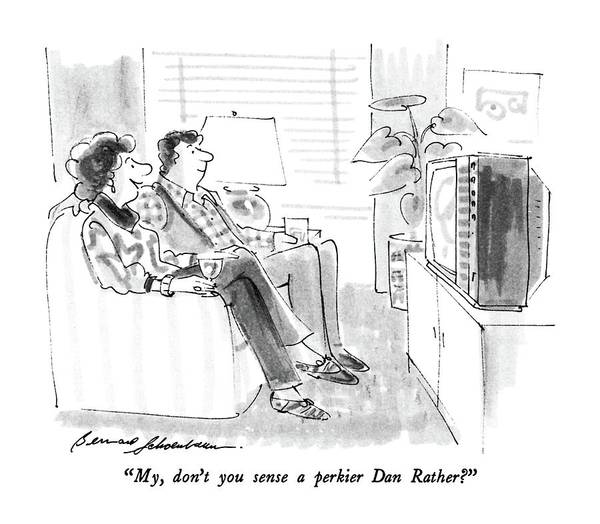 T.v Drawing - My, Don't You Sense A Perkier Dan Rather? by Bernard Schoenbaum