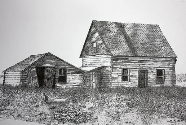 Homestead Drawing - My Father's Birthplace by Dennis Nadeau