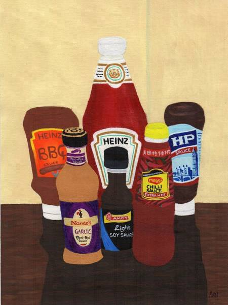 Bbq Painting - My Favourite Sauces by Bav Patel