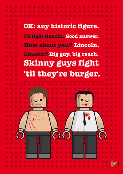 Brad Pitt Digital Art - My Fight Club Lego Dialogue Poster by Chungkong Art