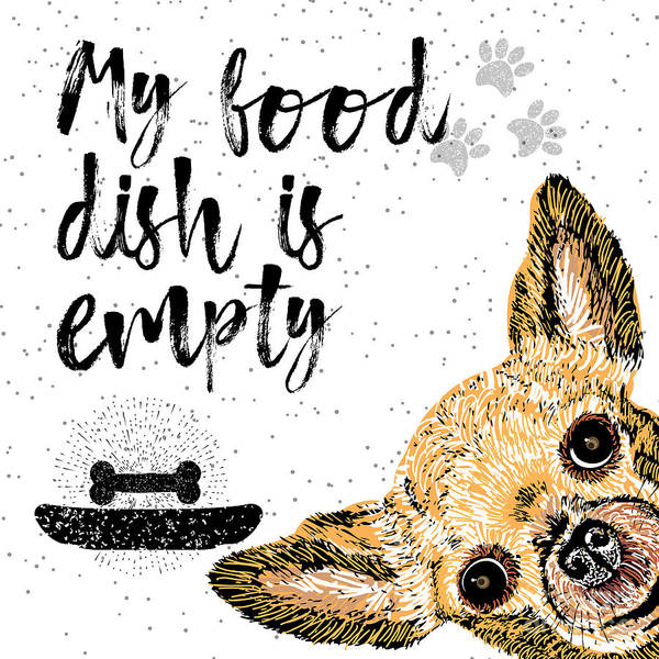 Playful Digital Art - My Food Dish Is Empty. Vector by Golden Shrimp