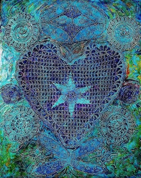Doily Painting - My Funky Valentine-sold by Lou Cicardo