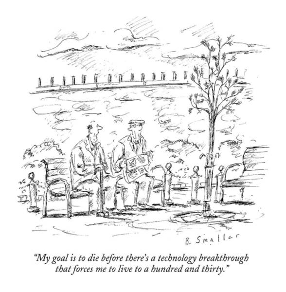 Goals Drawing - My Goal Is To Die Before There's A Technology by Barbara Smaller