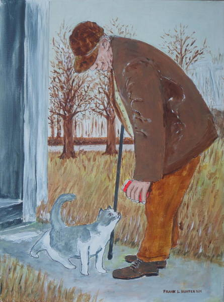 Painting - My Grandad And His Cat by Frank Hunter