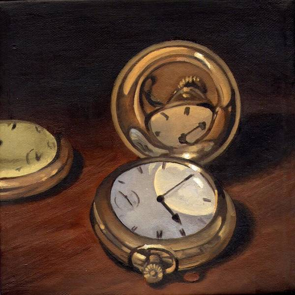 Grandfather Clock Painting - My Grandfather's Watch by Rick Liebenow