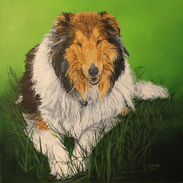 Service Dog Painting - My Guardian  by Wendy Shoults