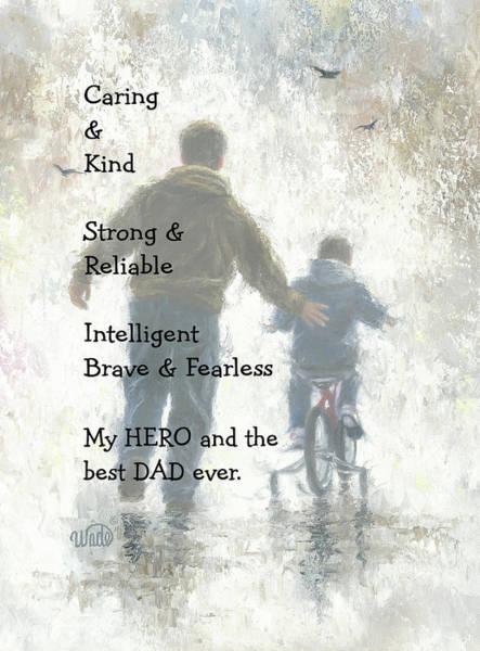 Dad Painting - My Hero by Vickie Wade