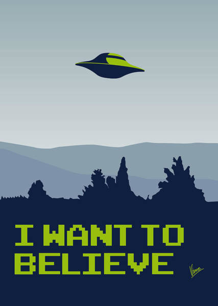 Spaceship Wall Art - Digital Art - My I Want To Believe Minimal Poster by Chungkong Art