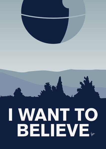 Spaceship Wall Art - Digital Art - My I Want To Believe Minimal Poster-deathstar by Chungkong Art