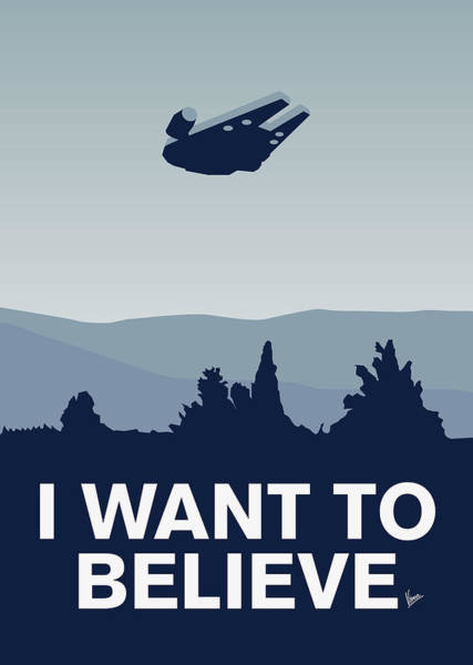Digital Art - My I Want To Believe Minimal Poster-millennium Falcon by Chungkong Art