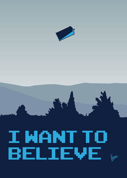 Want Digital Art - My I Want To Believe Minimal Poster- Tardis by Chungkong Art