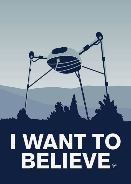 Foxes Digital Art - My I Want To Believe Minimal Poster-war-of-the-worlds by Chungkong Art