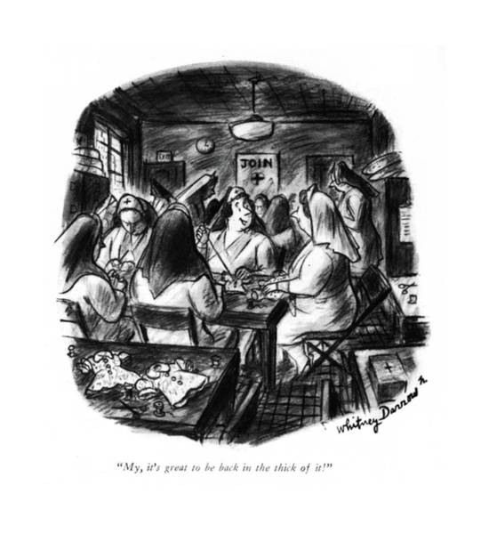 Red Cross Drawing - My, It's Great To Be Back In The Thick Of It! by Whitney Darrow, Jr.