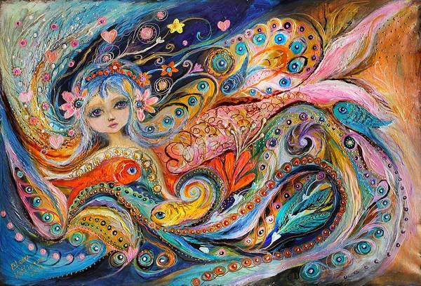 Wall Art - Painting - My Little Mermaid Lucille by Elena Kotliarker
