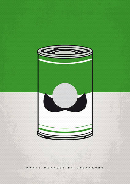 Brother Digital Art - My Mario Warhols Minimal Can Poster-luigi by Chungkong Art