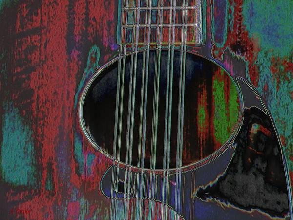 Digital Art - My Old Daion 12 String Guitar by Alec Drake