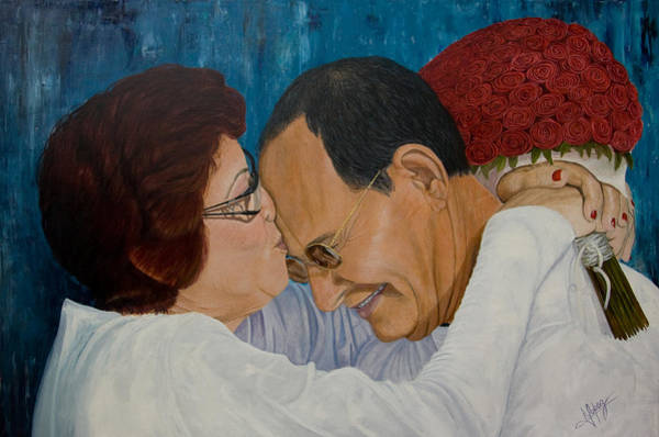Partner Painting - My Parents Original Oil Painting 36x24in by Manuel Lopez