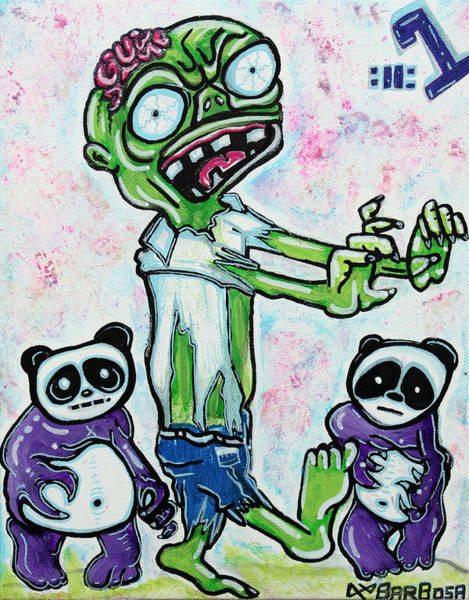 Wall Art - Painting - My Pet Zombie #1 / Pandamonium by Laura Barbosa