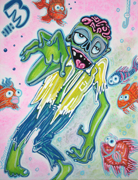 Wall Art - Painting - My Pet Zombie #3 / Fish Bait by Laura Barbosa