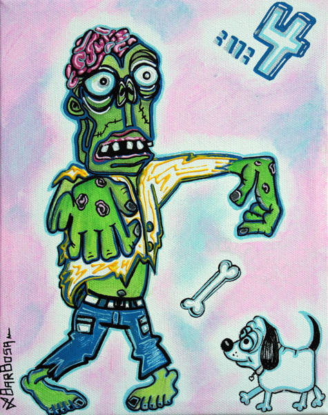 Wall Art - Painting - My Pet Zombie #4 / Here Boy by Laura Barbosa