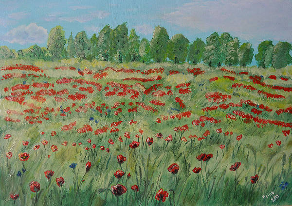 Poppie Painting - My Poppies Field by Felicia Tica
