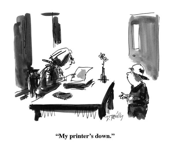 Mess Drawing - My Printer's Down by Donald Reilly