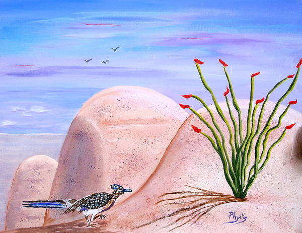 Roadrunner Painting - My Roadrunner by Phyllis Kaltenbach