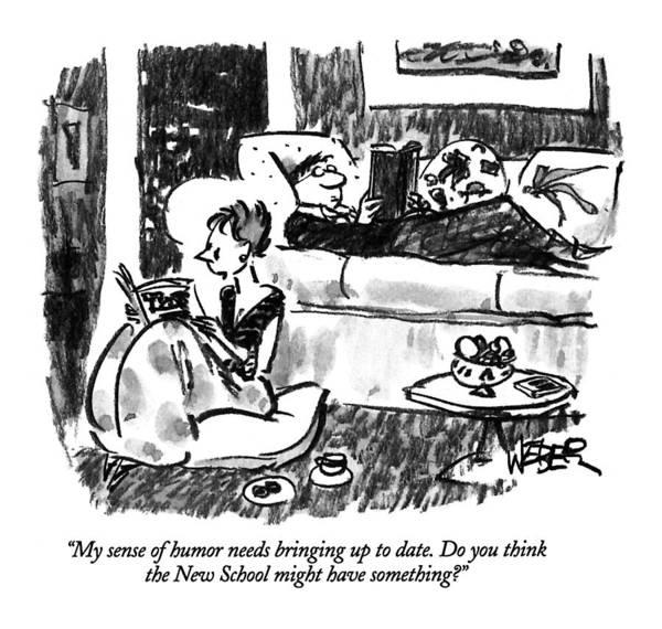 Brochure Drawing - My Sense Of Humor Needs Bringing Up To Date by Robert Weber