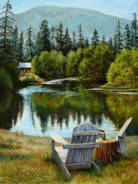 Mountain Lake Painting - My Space by Mary Giacomini