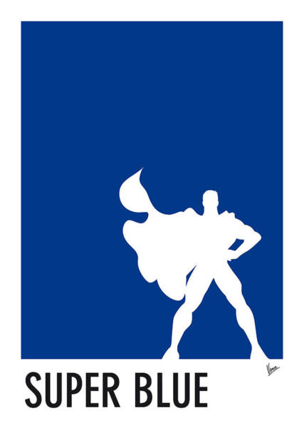 Wall Art - Digital Art - My Superhero 03 Super Blue Minimal Poster by Chungkong Art