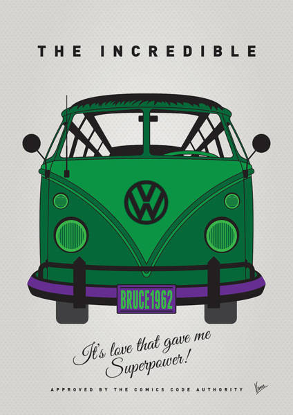 Volkswagen Wall Art - Digital Art - My Superhero-vw-t1-hulk by Chungkong Art