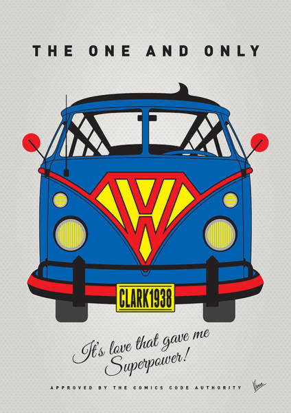Volkswagen Wall Art - Digital Art - My Superhero-vw-t1-superman by Chungkong Art