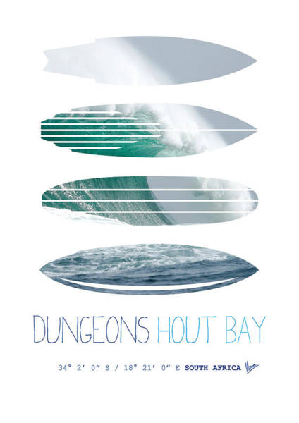 Surfer Digital Art - My Surfspots Poster-4-dungeons-cape-town-south-africa by Chungkong Art