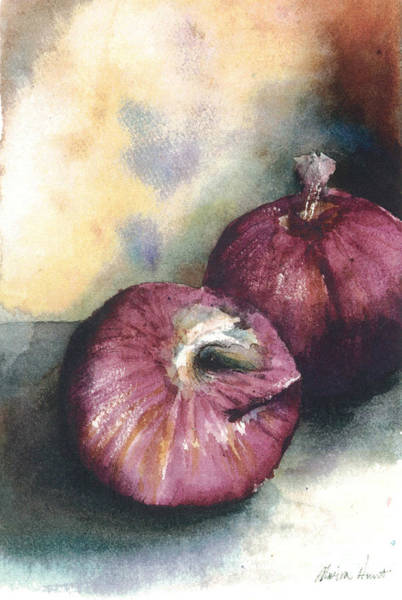 Red Onion Painting - My Sweet Onion by Maria Hunt