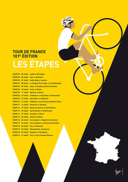 Bike Digital Art - My Tour De France Minimal Poster 2014-etapes by Chungkong Art