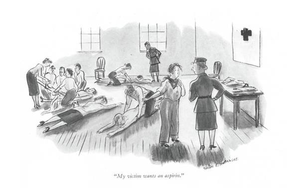 Medical Examination Drawing - My Victim Wants An Aspirin by Helen E. Hokinson