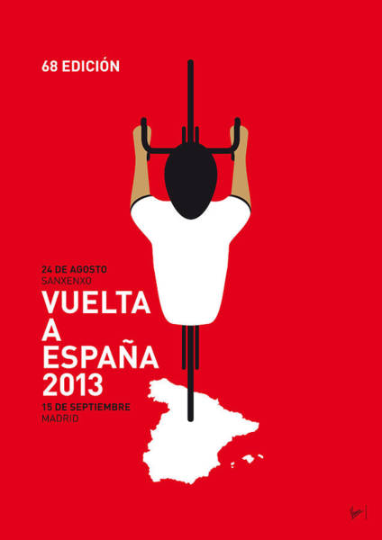 Bike Digital Art - My Vuelta A Espana Minimal Poster - 2013 by Chungkong Art