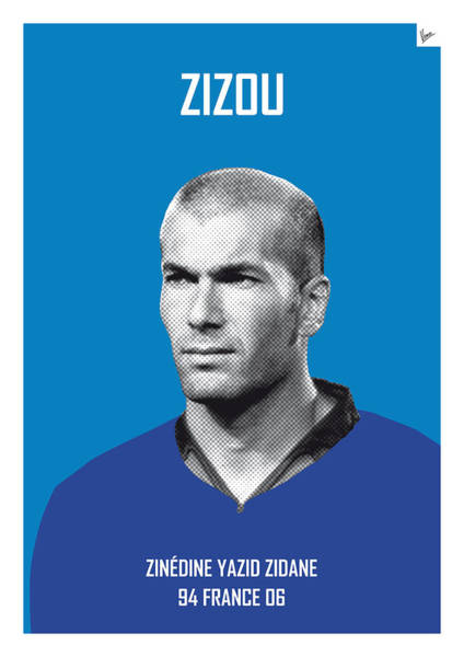 South America Digital Art - My Zidane Soccer Legend Poster by Chungkong Art