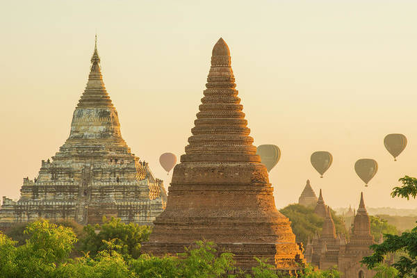 Bagan Photograph - Myanmar Bagan Hot Air Balloons Rising by Inger Hogstrom