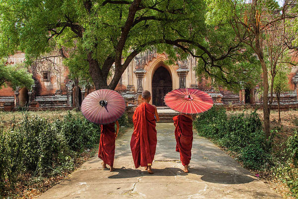 Bagan Photograph - Myanmar, Bagan Novice Monks In Front by Jaynes Gallery