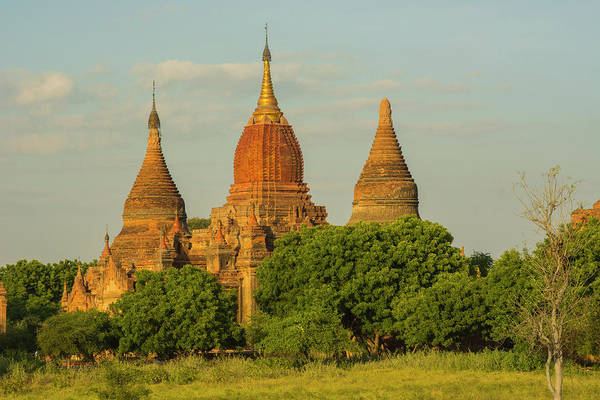 Bagan Photograph - Myanmar Bagan Red Brick Temple Glows by Inger Hogstrom